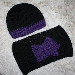 Nwot black crochet hat and cowl set, scarf hat set